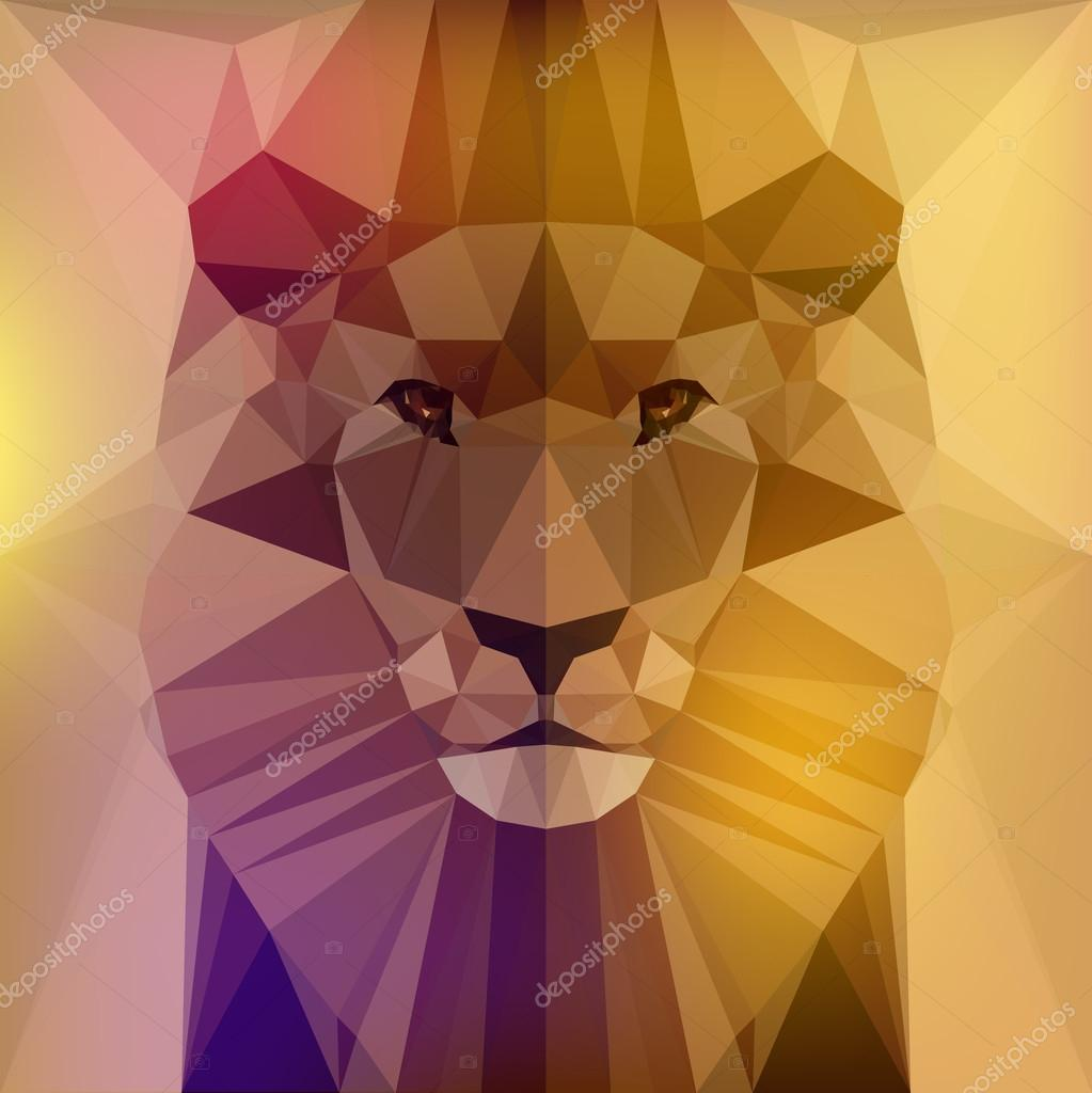 Vector illustration - face of a lion