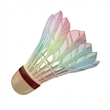 Vector illustration: feather shuttlecocks for badminton isolated on white background