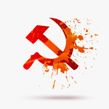 Ussr symbol: Hammer and Sickle. Watercolor texture