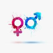 Fotografie Mannelijke en vrouwelijke aquarel symbolen