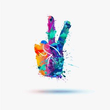 Vector peace hand symbol