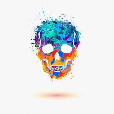 Skull. Vector watercolor splash illustration