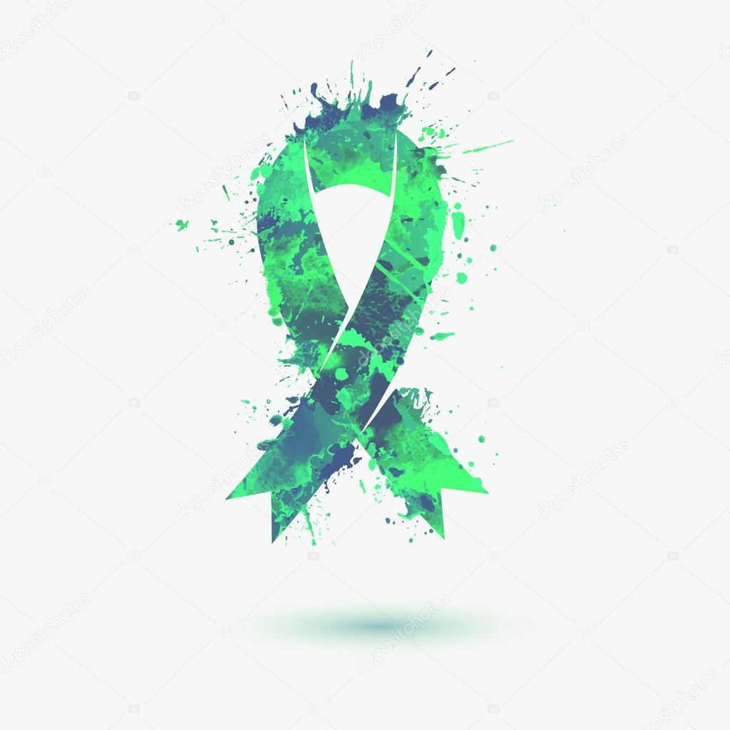 green kidney cancer awareness ribbon stock vector ukususha