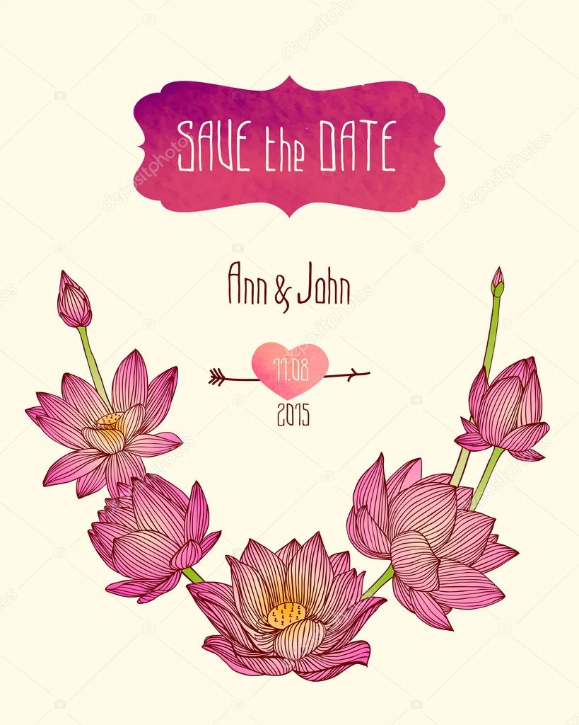Wedding Invitation Save The Date Template With Pink Lotus Flowers