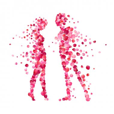 loving couple silhouettes of rose petals