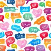 Bezešvé pattern - řeči bubliny s Hello v různých jazycích
