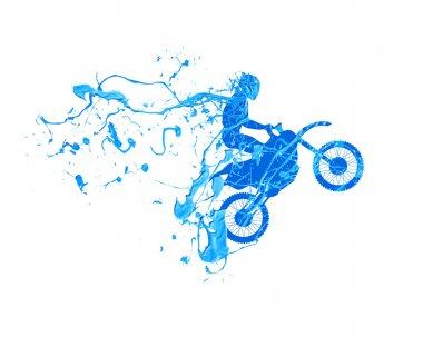 motorcyclist. Splash blue paint