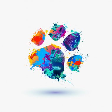 animal footprint. Rainbow splash logo