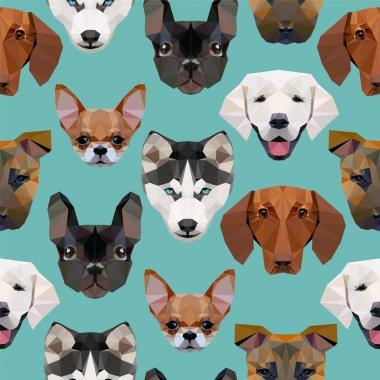 Seamless pattern - polygonal dogs heads