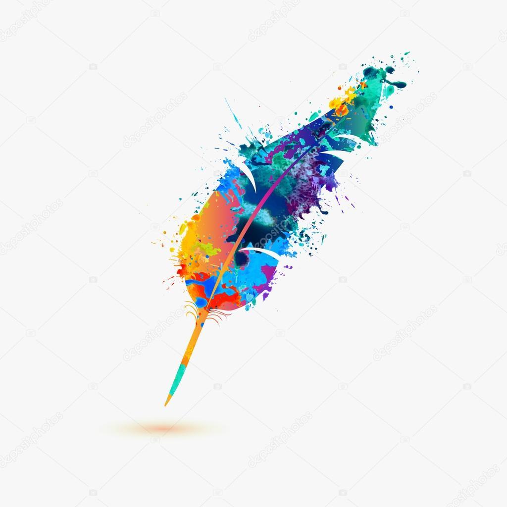 Icono de pluma pluma vector de stock ukususha 95503166 for Painting and decorating logo ideas