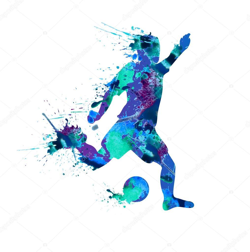 Jogador de futebol. Pintura de pulverizador em um fundo branco —  Vetores de Stock