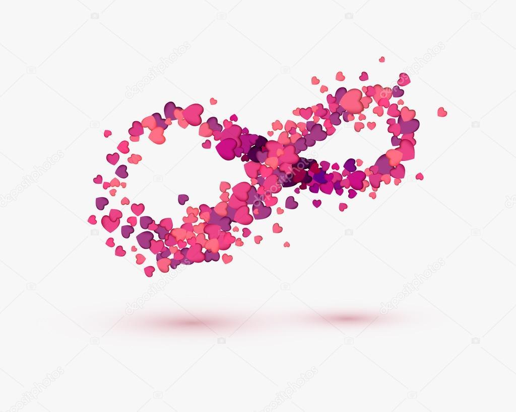 amour infini symbole des coeurs sur fond blanc image vectorielle ukususha 96673994. Black Bedroom Furniture Sets. Home Design Ideas