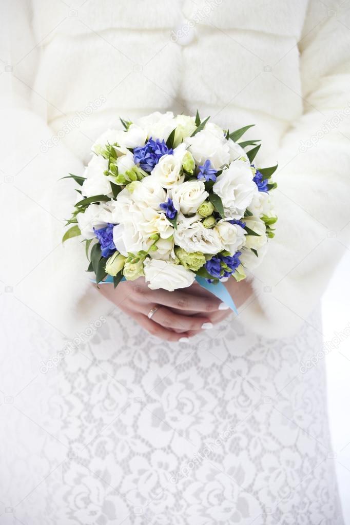 Winter Wedding Bridal Bouquet In Hands Stock Photo Ukususha