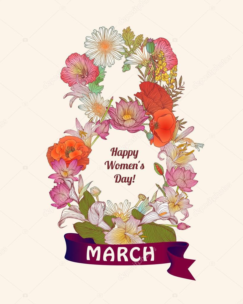 grattis på 8 mars 8 mars Grattis kort. Lycklig kvinnas dag — Stock Vektor © Ukususha  grattis på 8 mars