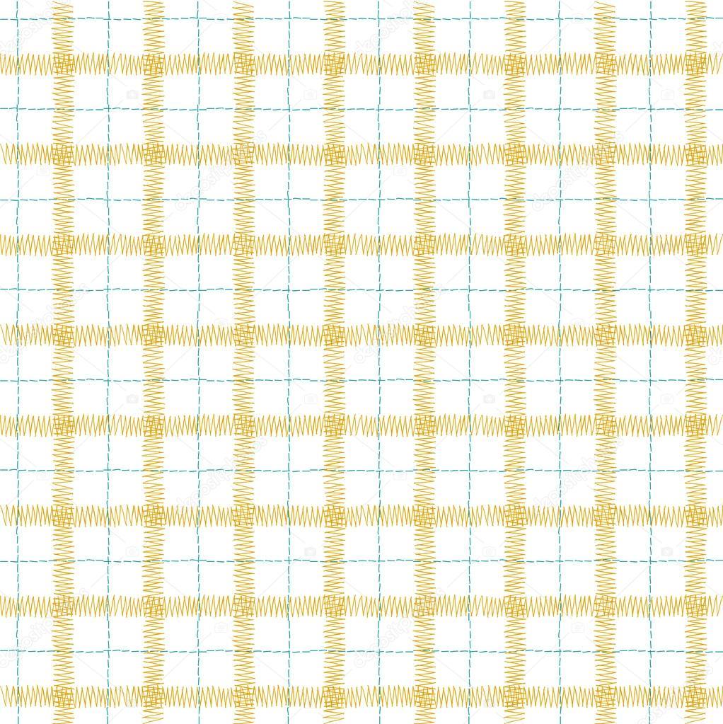 patrón sin fisuras de la jaula - máquina de coser puntadas — Archivo ...