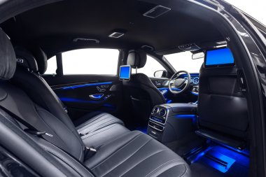 Car interior luxury black with violet ambient light