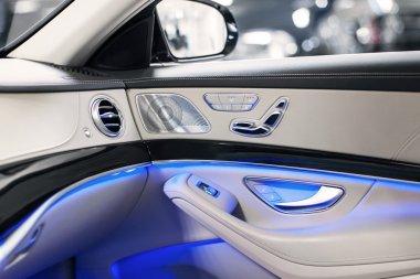 Car interior luxury door with blue ambient light