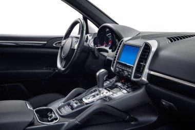 Car interior steering wheel and dashboard