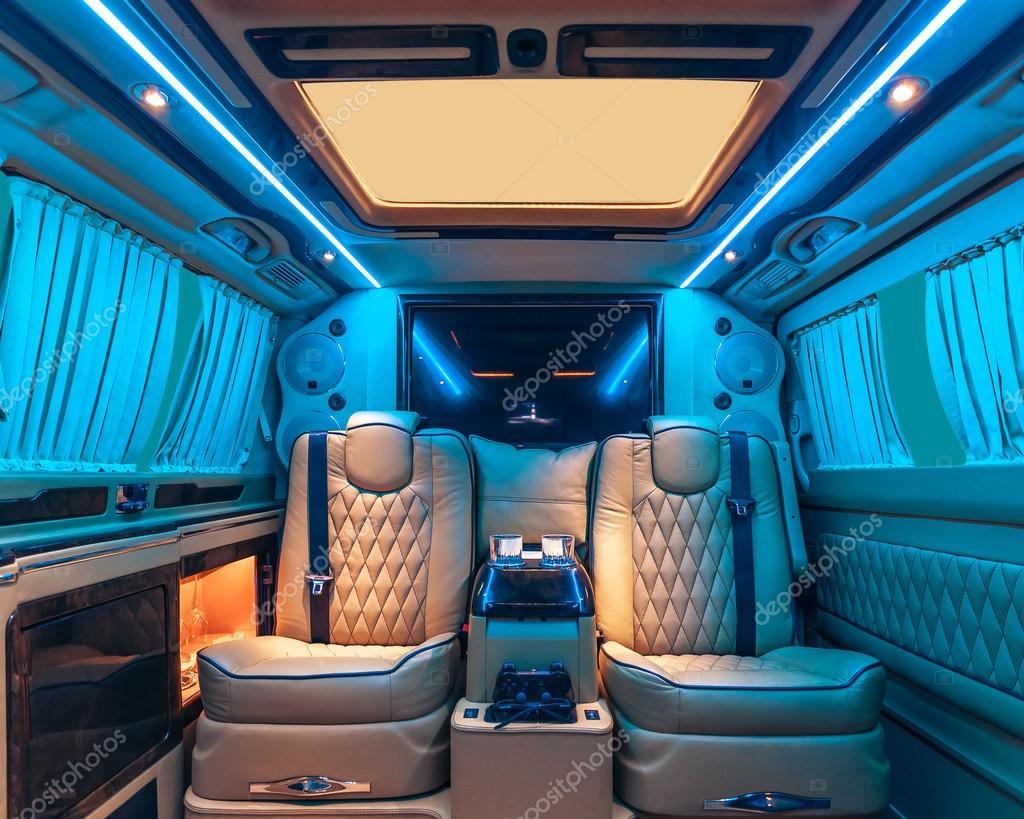vip service car interior comfortable seats and luxury decoration stock photo dmindphoto. Black Bedroom Furniture Sets. Home Design Ideas