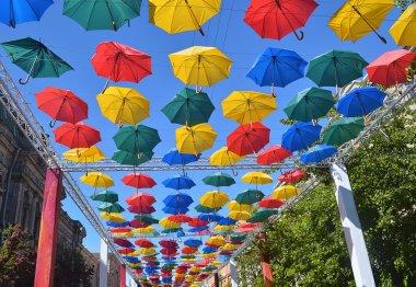 Alley soaring umbrellas. Saint Petersburg.