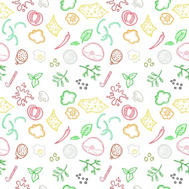 Seamless pizza ingredients pattern. Vector endless design.