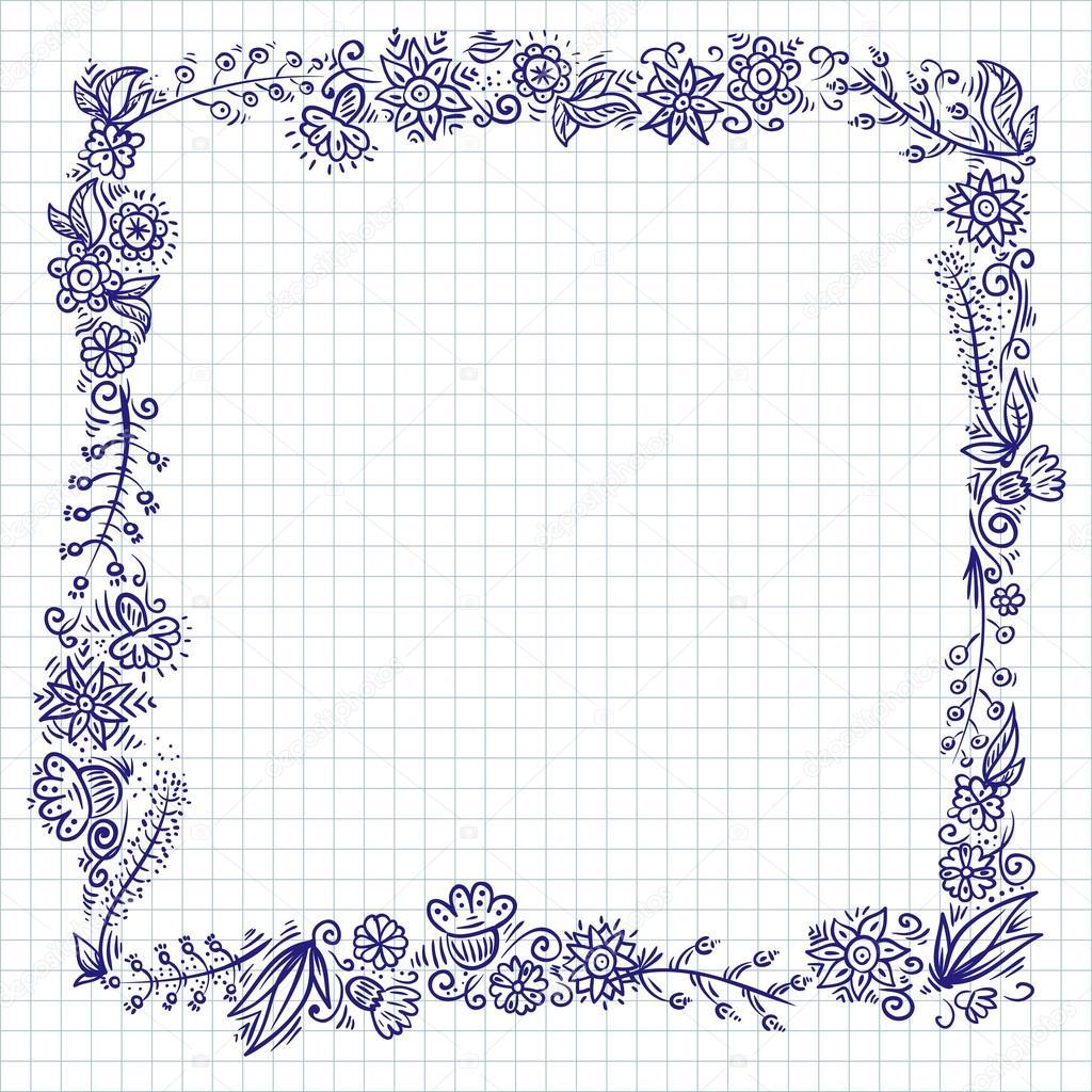 marco de doodle flores de papel de cuaderno a cuadros — Vector de ...
