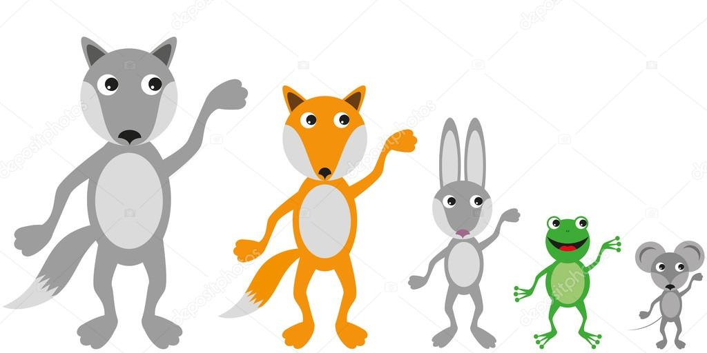 Different animals in a simple flat style
