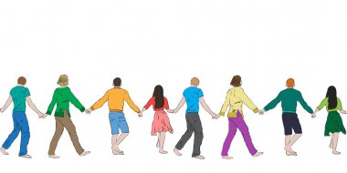 Cheerful people holding hands, seamless pattern