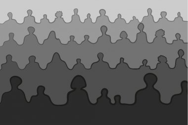 Crowd people silhouettes