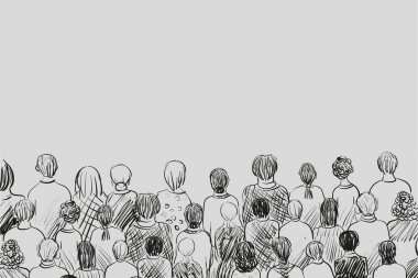 Sketch: a crowd watching and listening