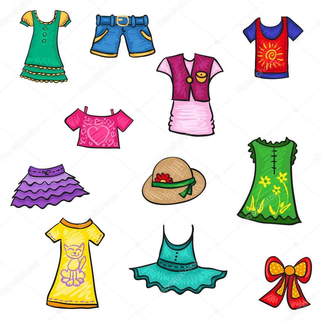 kids clothes hand drawn sketch summer pattern