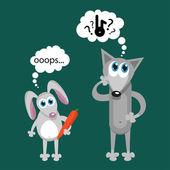 králík a wolf kreslené vektorové ilustrace