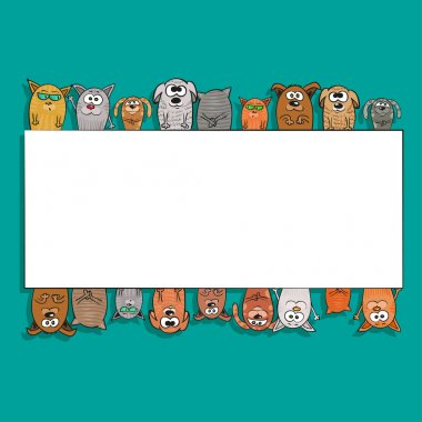 cats and dogs - Template of background for text. Vector illustration.