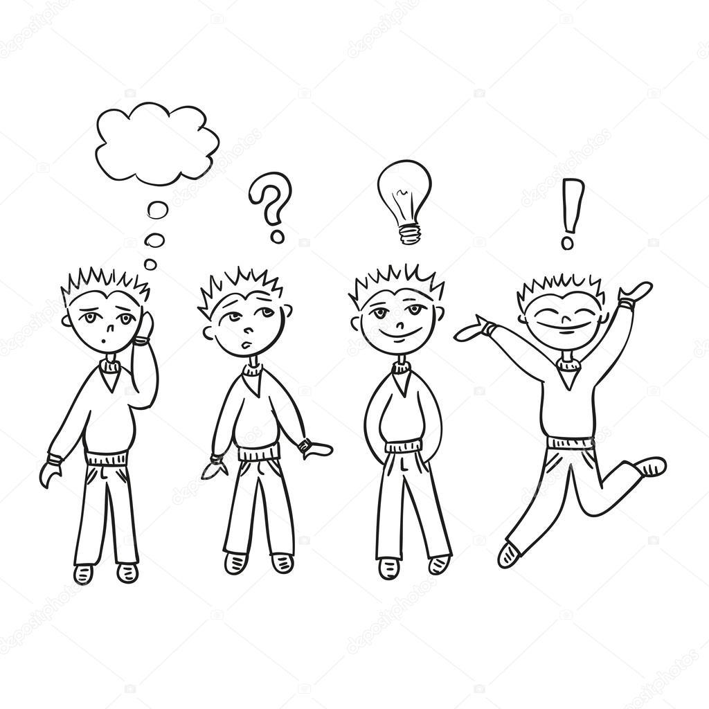 Niño en conjunto de vector de estilo boceto. Pensamientos para niños ...