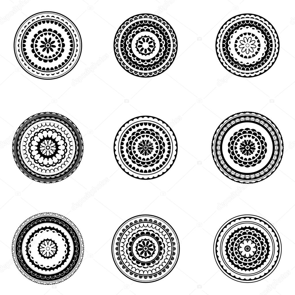 black and white mandala vector set