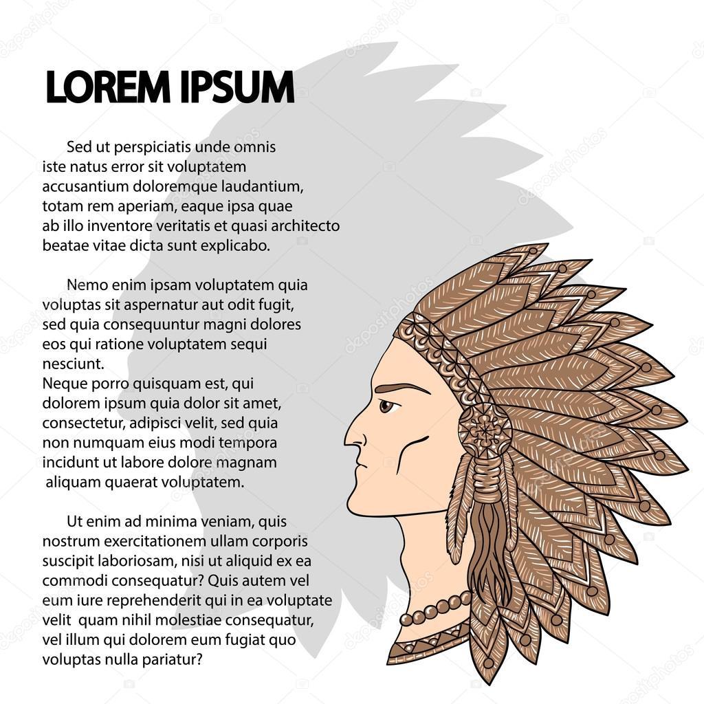 Plantilla para el texto con jefe indígena — Vector de stock © Alisen ...