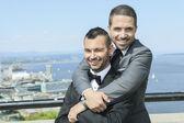 portrét milující muž pár gayů na jejich svatební den