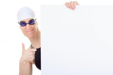 A woman swimmer in studio white background
