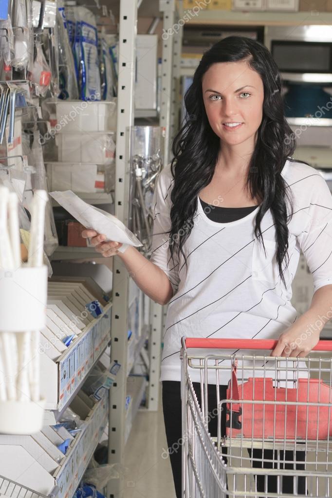client portrait in home appliance shop supermarket store