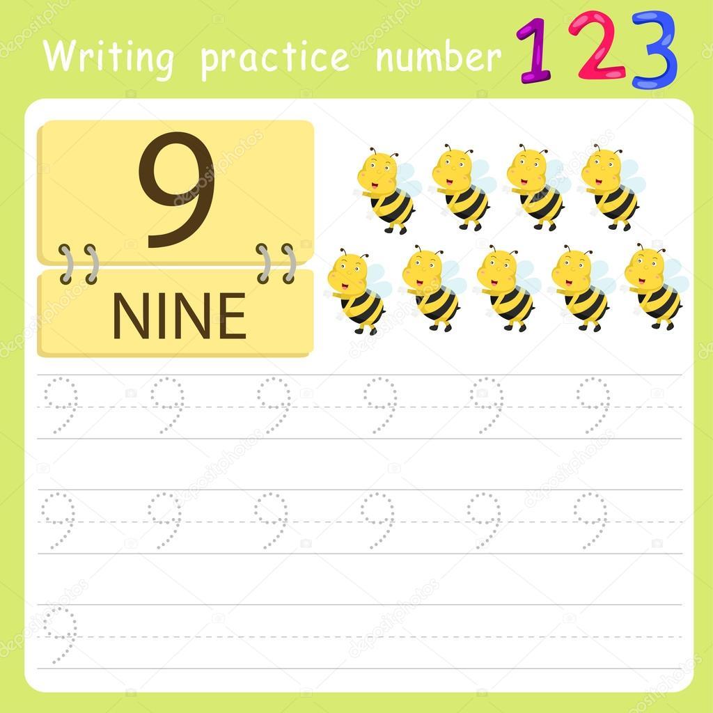 Arbeitsblatt schreiben Praxis Nummer neun — Stockvektor © chingowinn ...