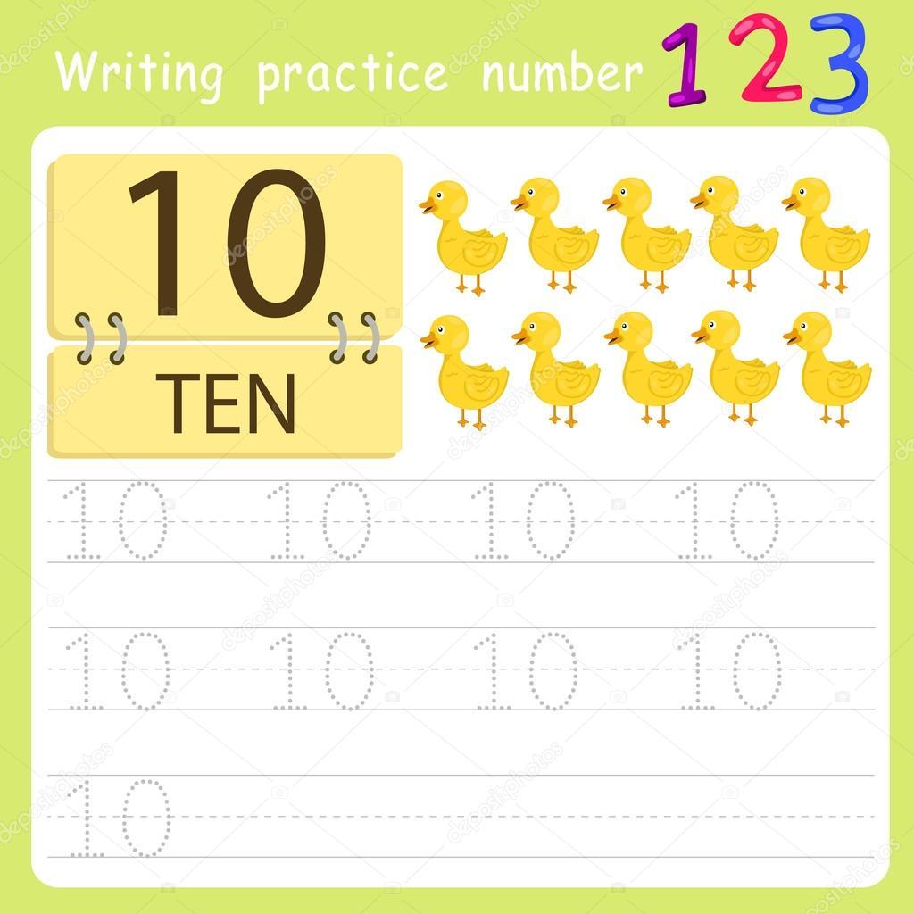 hoja de cálculo de número de la práctica de escribir diez — Vector ...