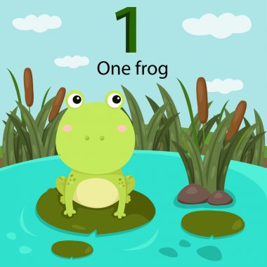 Illustrator of number one with frog