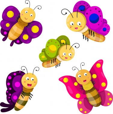 Illustrator of butterfly cartoon set