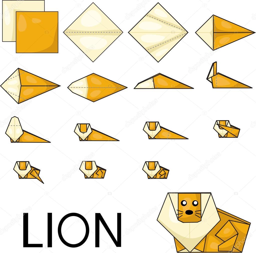 Illustrator Of Lion Origami Stock Vector