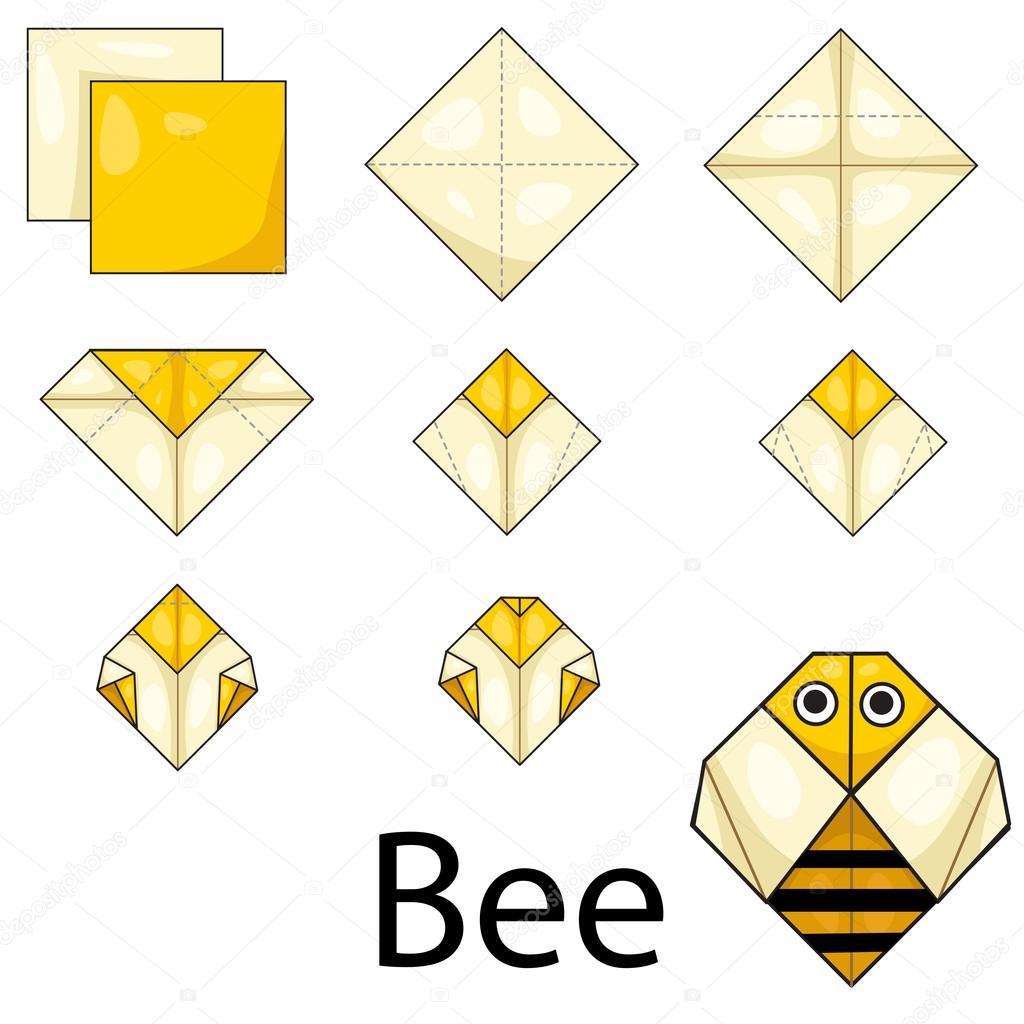Biene Origami Stockvektor Chingowinn 76097733