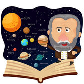 Fotografie Illustrator von Galileo und Buch mit Universum