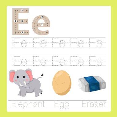 Illustrator of E exercise A-Z cartoon vocabulary