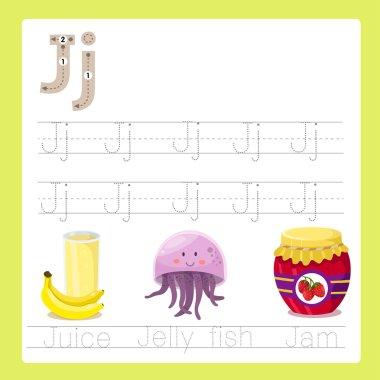Illustrator of J exercise A-Z cartoon vocabulary