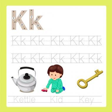 Illustration of K exercise A-Z cartoon vocabulary