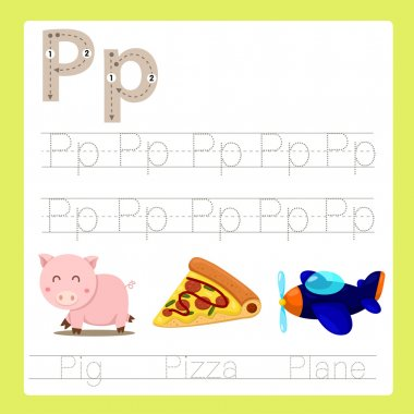 Illustrator of P exercise A-Z cartoon vocabulary